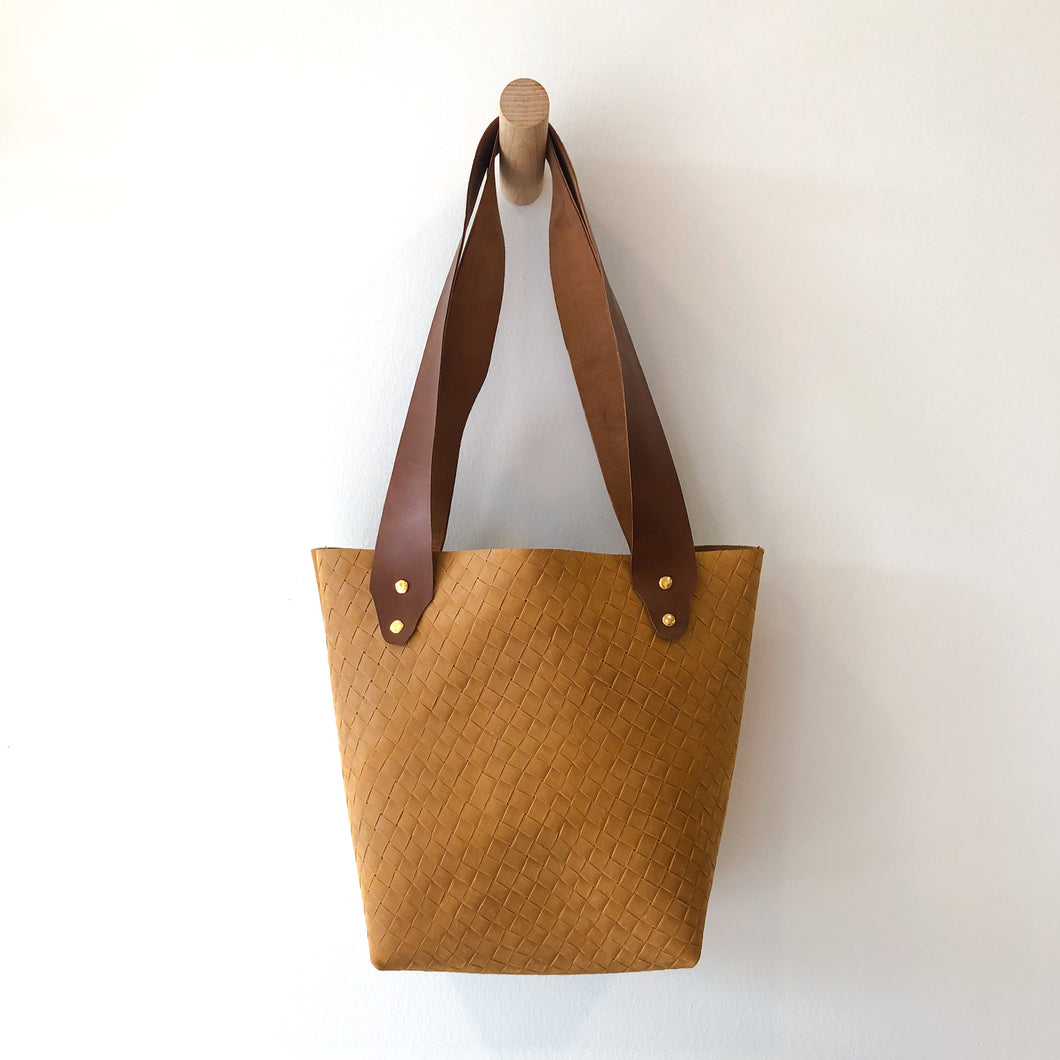 The Bucket Tote- Woven Camel and Brown (Gold)