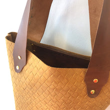 Load image into Gallery viewer, The Bucket Tote- Woven Camel and Brown (Gold)