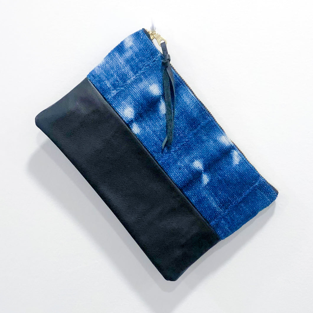 Small Fabric and Leather Split Clutch (Indigo Dyed with Black)