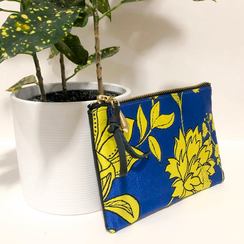 The Mini Pouch (Blue and Yellow-Green Florals)