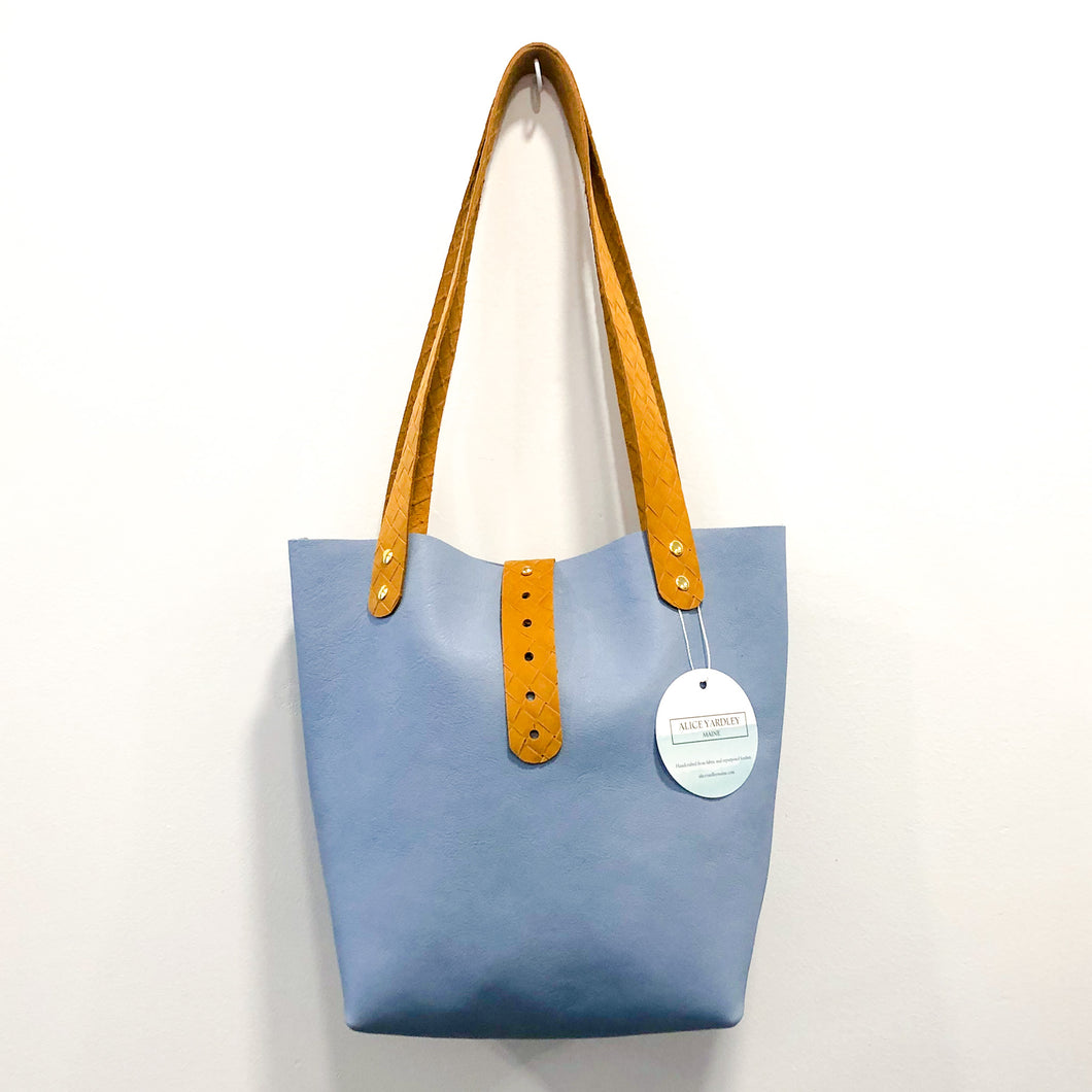 The Bucket Tote- Sky Blue and Woven Brown (Gold)