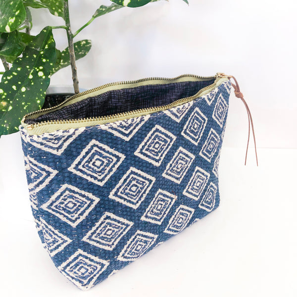 Standing Trapezoid Pouch (Blue Diamond Fabric)