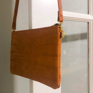 Crossbody Leather Bag (Brown Crocodile Leather)