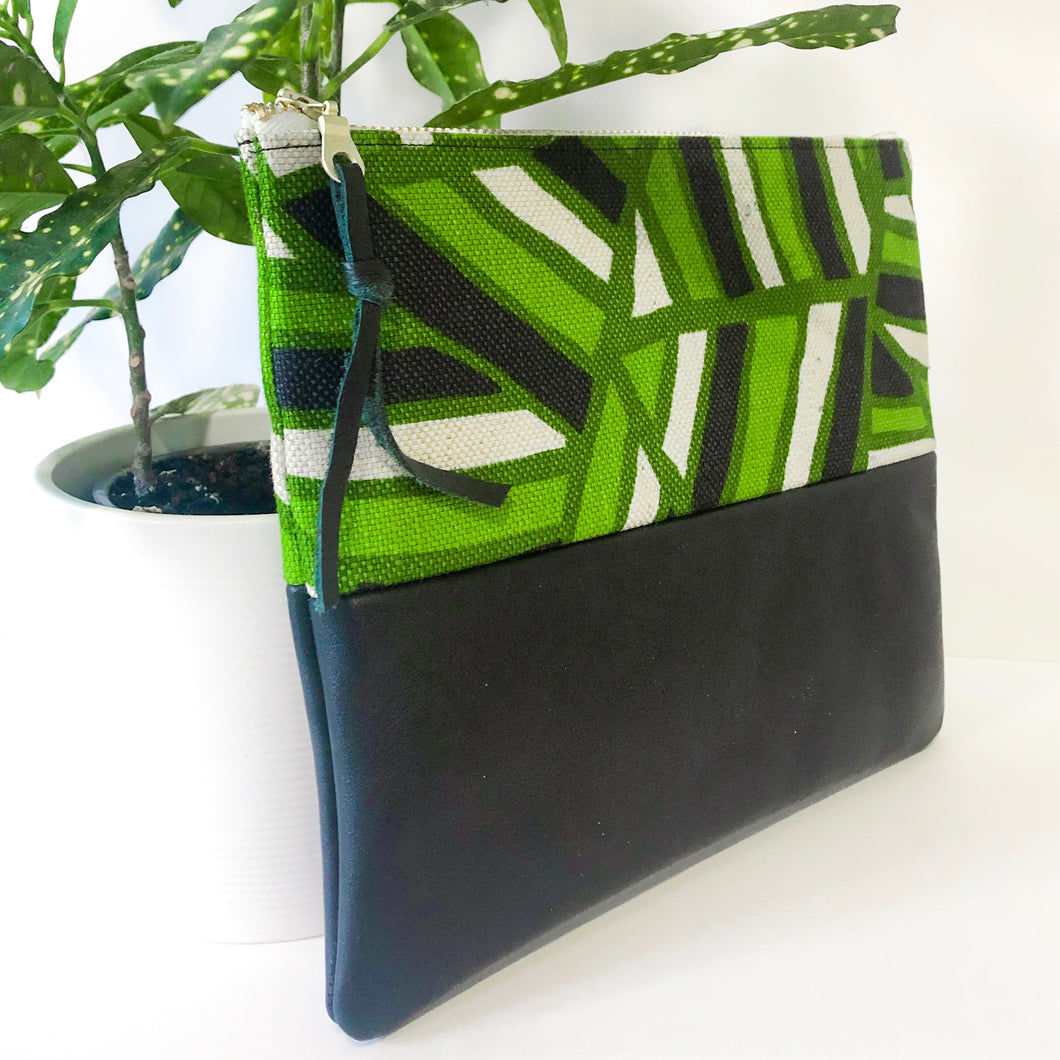 Fabric and Leather Split Clutch (Green and Black)