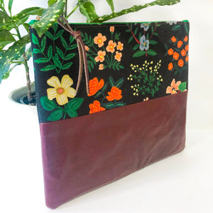 Fabric and Leather Split Clutch (Black Floral)