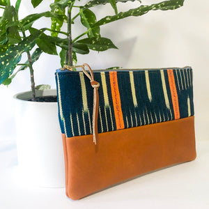 Small Fabric and Leather Split Clutch (Navy, Yellow, Orange Mud Cloth)