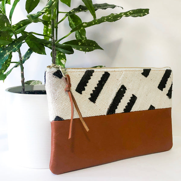 Small Fabric and Leather Split Clutch (White and Black Sheep's Wool)