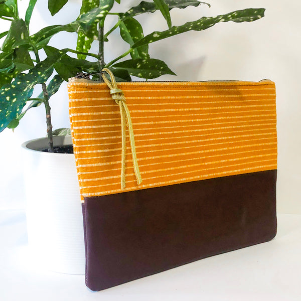 Small Fabric and Leather Split Clutch (Orange and Maroon)