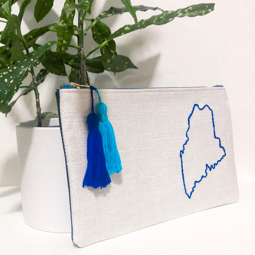 Maine Embroidered Fabric and Leather Clutch (Blue)