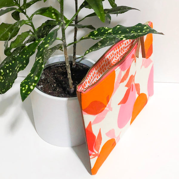Half-and-Half Leather and Fabric Clutch (Orange and Pink Fruit)