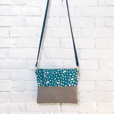 Crossbody Leather Bag (Blue and White Spots- Gray)