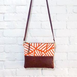 Crossbody Leather Bag (Orange, White, and Brown- Dark)