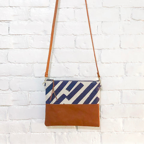 Crossbody Leather Bag (Blue Taped Stripes)