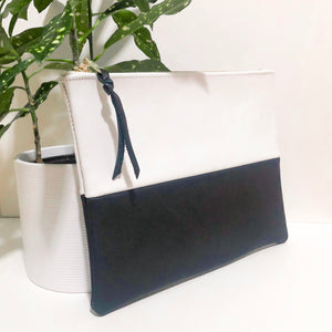 Two Tone Leather Clutch (White and Black)