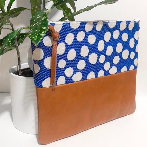 Fabric and Leather Split Clutch (Blue and White Dots)
