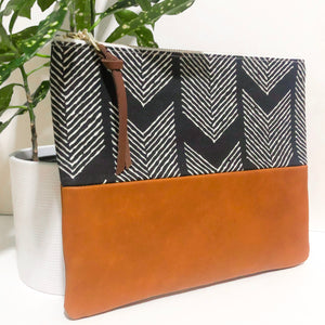 Fabric and Leather Split Clutch (Black and White Arrows)