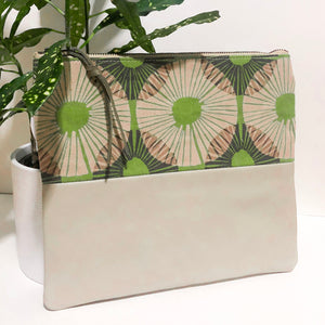 Fabric and Leather Split Clutch (Abstract Green and Tan)