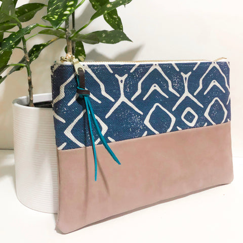 Small Fabric and Leather Split Clutch (Dark Blue and Ivory)