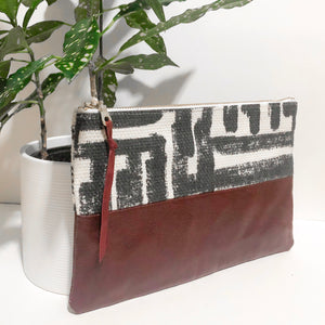 Small Fabric and Leather Split Clutch (Black Brush Strokes with Wine)