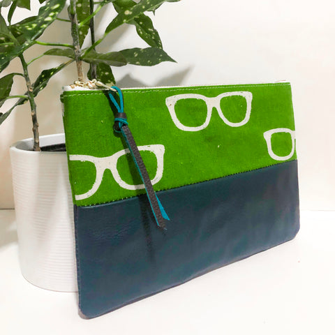 Small Fabric and Leather Split Clutch (Green Glasses)