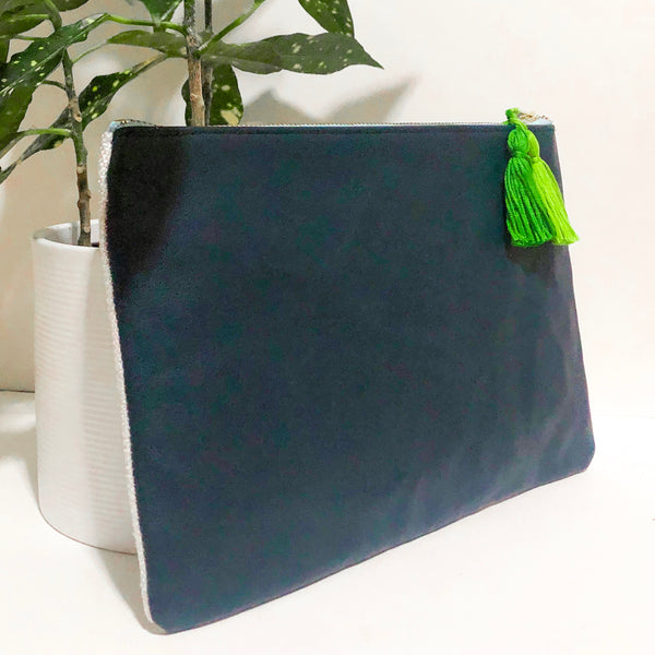 207 Embroidered Fabric and Leather Clutch (Blue)