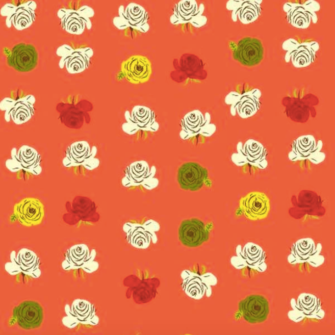 Fabric Face Mask (Red-Orange Roses)