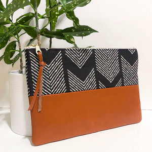 Small Fabric and Leather Split Clutch (Black and White Arrows)