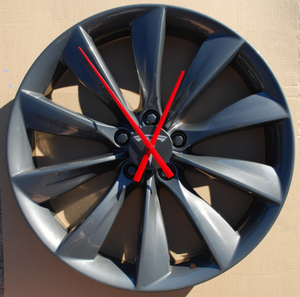 "Wall Clock from 21"" Tesla Model S Wheel (Grey Turbine)"