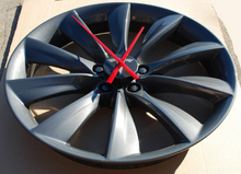 "Load image into Gallery viewer, Wall Clock from 21"" Tesla Model S Wheel (Grey Turbine)"