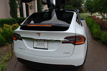 Load image into Gallery viewer, Tesla Model X Rear Spoiler Carbon Fiber Vinyl Overlay