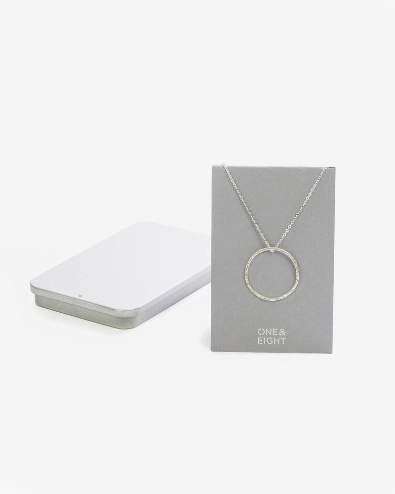 SurfGirl Beach Boutique Ladies Silver Hammered Hoop Necklace by One & Eight Jewellery