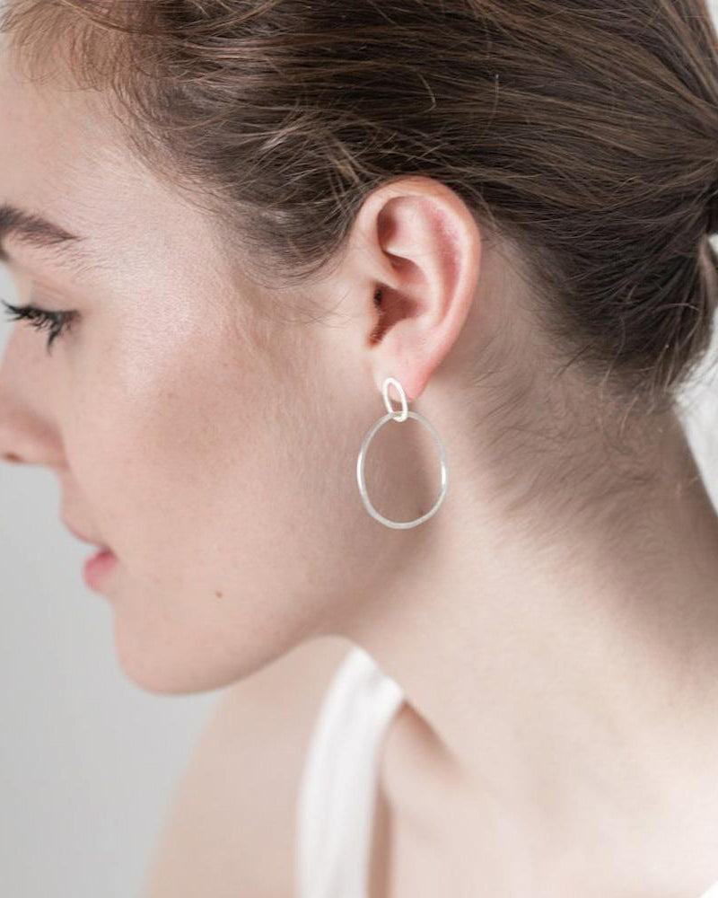 Silver Halo Earrings by One & Eight