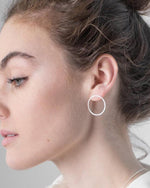 Silver Large Circular Eclipse Studs by One & Eight