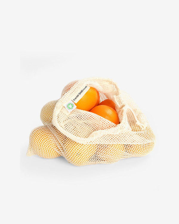 SurfGirl Beach Boutique Organic Cotton Mesh Drawstring Grocery Bag - Various Sizes