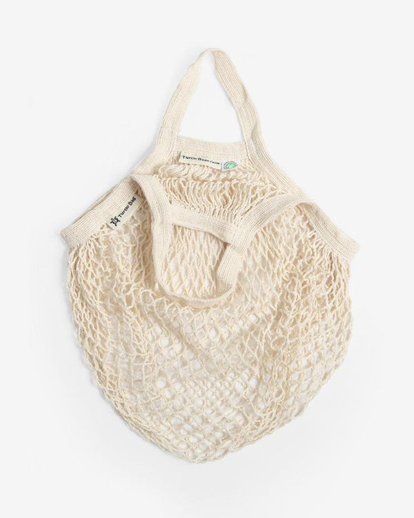 Organic Cotton Short-Handled String Bag in Natural by Turtle Bags