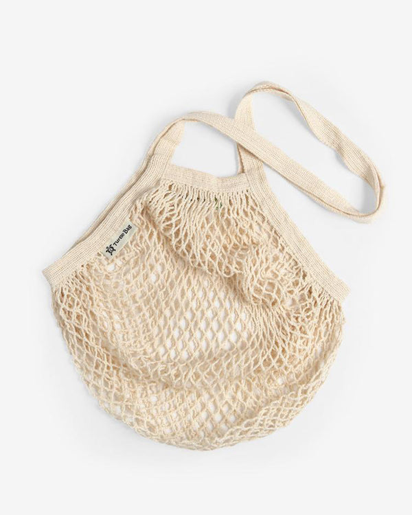 Organic Cotton Long-Handled String Bag in Natural by Turtle Bags