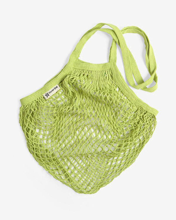 SurfGirl Beach Boutique Organic Cotton Long-Handled String Mesh Bag in Lime Green by Turtle Bags