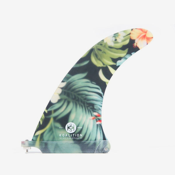 "SurfGirl Beach Boutique Surf Surfing Surfboard Fin Koalition Waikiki Tropical Floral Pattern 8"" 8.75"" Fin"