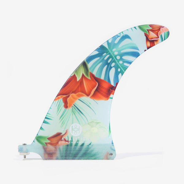 "SurfGirl Beach Boutique Surf Surfing Surfboard Fin Koalition Aloha Spirit Floral Tropical 8.75"" Fin Longboard"