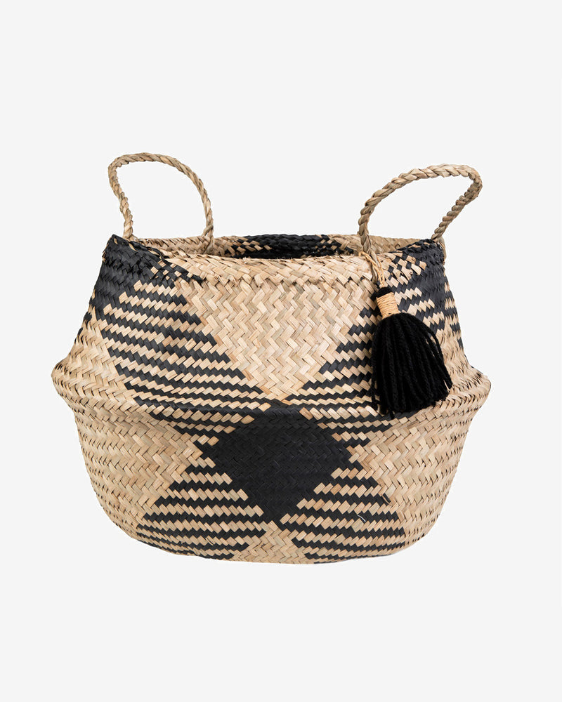 Sea Grass Tribal Pattern Tassel Basket