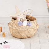Sea Grass Pom Pom Storage Basket