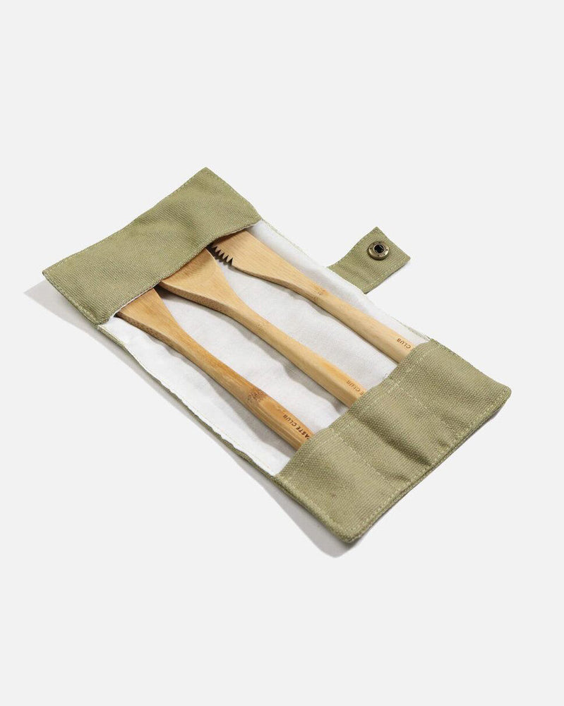 Plastic Free Zero Waste Club Bamboo Travel Reusable Cutlery Knife Fork Spoon Set