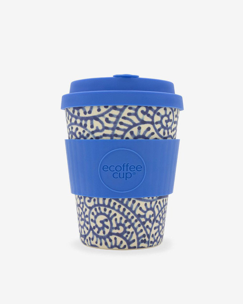 SurfGirl Beach Boutique Eco Bamboo Travel  Coffee Cup 'Setsuko' Blue Pattern Travel Mug