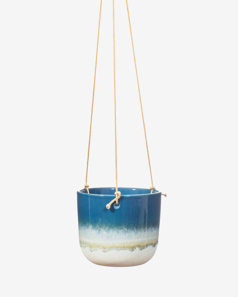 Glazed Ombre Hanging Planter in Blue