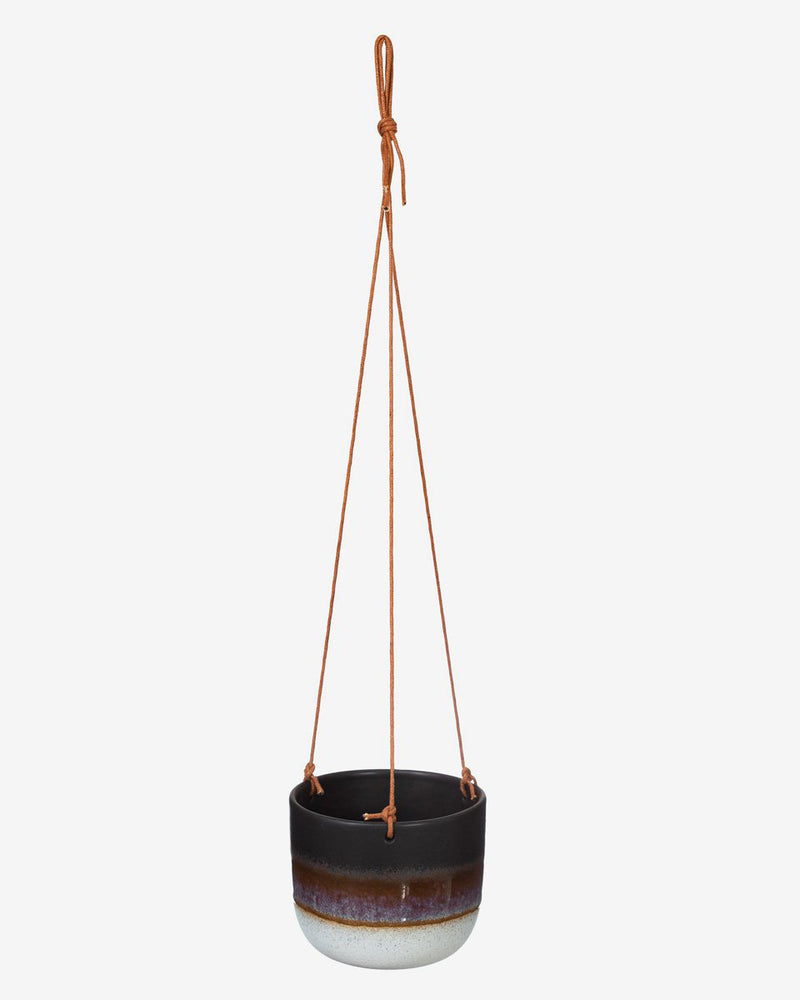 Glazed Ombre Hanging Planter in Black