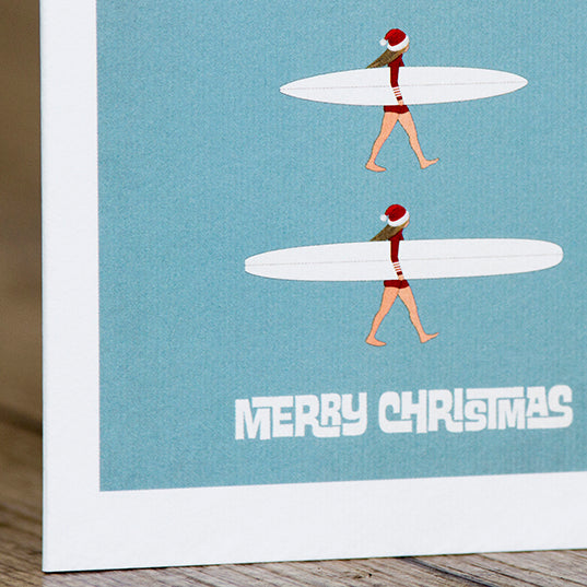SurfGirl Beach Boutique Christmas X-Mas Surf Theme Quiver Greeting Card