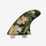 SurfGirl Beach Boutique Surf Surfing Surfboard Fin Koalition Waikiki Black Floral Tropical Thruster Set 4.5""