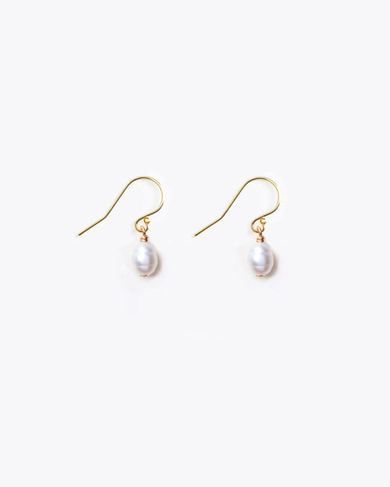 Isla Drop Earrings in White Freshwater Pearl by Wanderlust Life