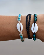 The Beach Boutique Ladies Single Wrap Cowrie Shell Handcrafted Gemstone Bracelet by Shimmy Bracelets
