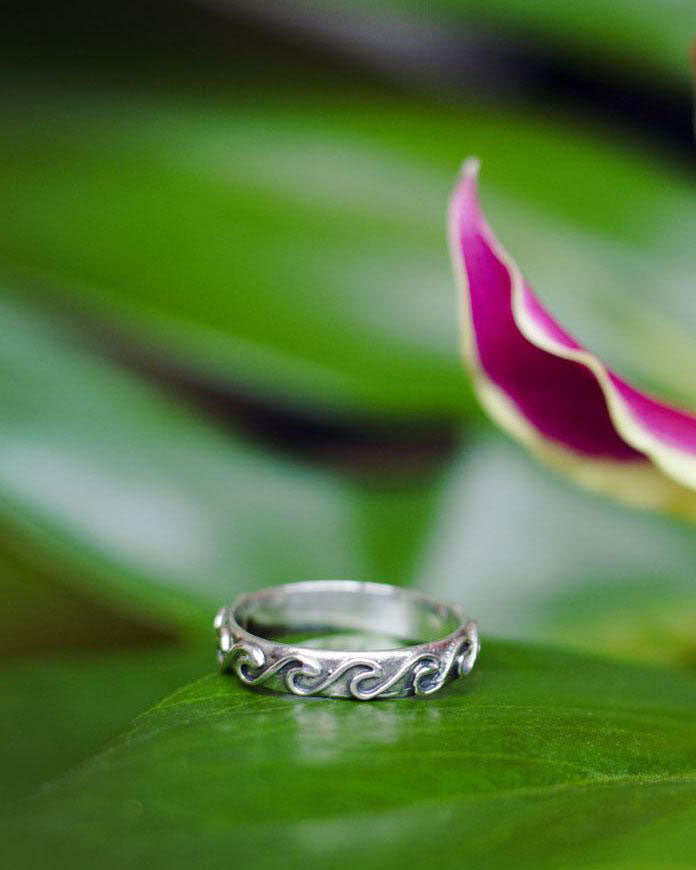SurfGirl Beach Boutique Sterling Silver At Aloha - Beach Break Wave Ring Ocean Ladies